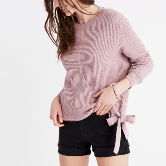 Madewell Faux Wrap Side Tie Ribbed Sweater